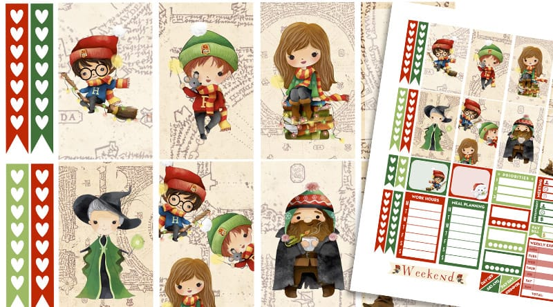 FREE Printable weekly kit Christmas Harry Potter Planner Stickers #harrypotter #planner #plannerstickers #happyplanner #lovelyplanner