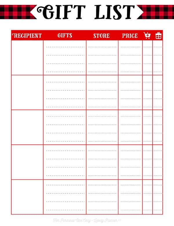 Free Printable Christmas Gift List: 2 templates - Lovely Planner