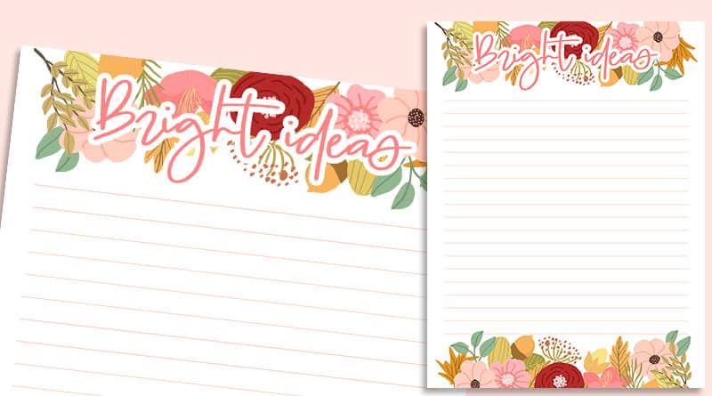 picture about Notes Printable known as Cost-free Printable Floral Notes Planner Incorporate (Mini, Clic