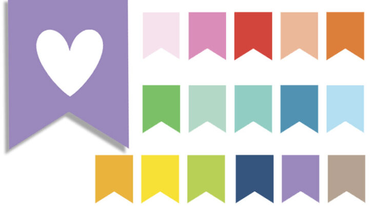 Free Printable Flags Planner Stickers (blank and heart)