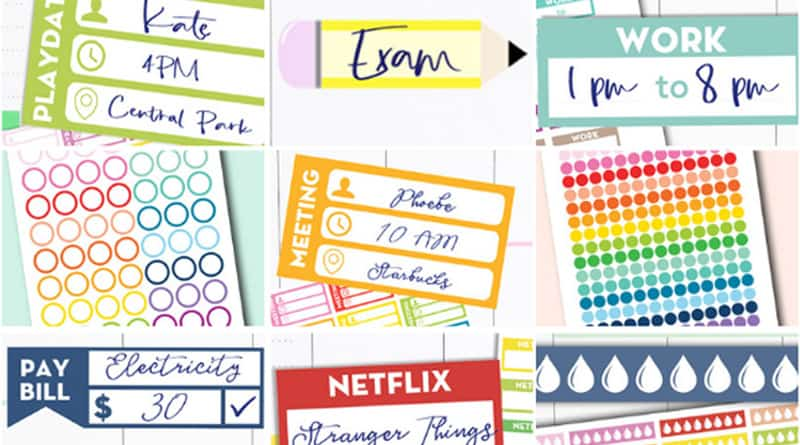 image regarding Free Printable Stickers for Planners identify 45+ Free of charge Printable Realistic Stickers for your Planner or