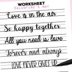 Free Printable Hand Lettering Practice Worksheet Romantic Sayings Valentine's Day: US letter or A5. The easy way to improve your handlettering and decorate your planner or bullet journal. #freeprintable #lovelyplanner #handlettering #lettering #calligraphy #lovelyplanner