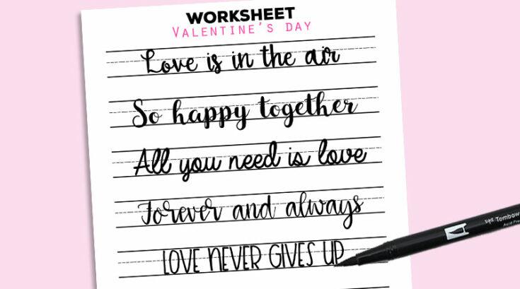 Free Printable Valentine's Day Romantic Sayings Lettering Practice Worksheet