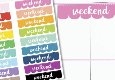 Free Printable Scalloped Weekend Planner Stickers. #stickers #planner #bulletjournal #freeprintable #lovelyplanner