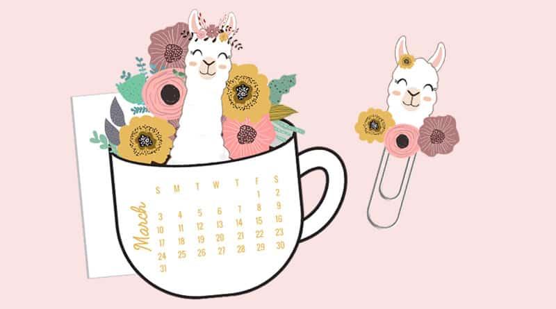 Free Printable Llama Floral Coffee Cup Calendar Divider & Paperclip