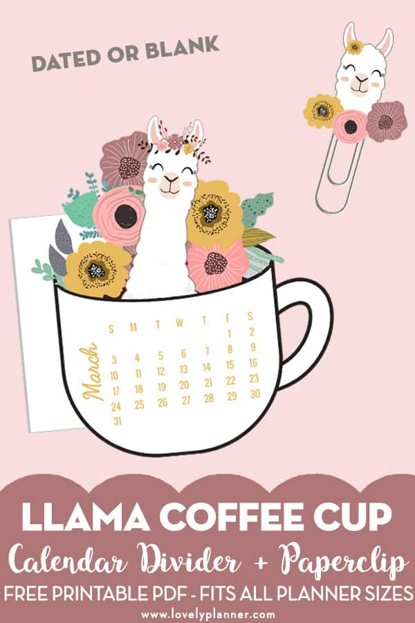 picture regarding Llama Printable identified as Absolutely free Printable Llama Floral Espresso Cup Calendar Divider