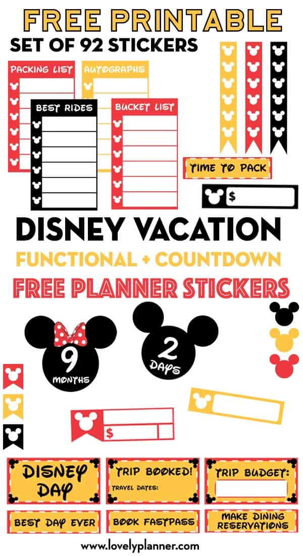 photograph about Disney Countdown Printable referred to as Totally free Printable Disney Family vacation Planner Stickers: Countdown