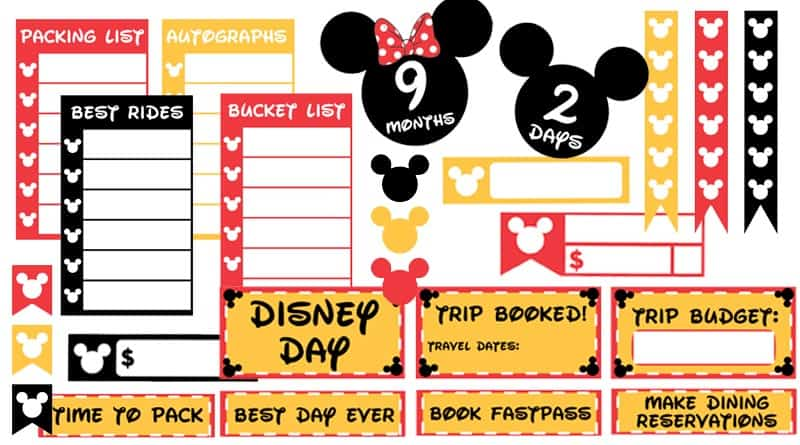 photo relating to Disney Countdown Calendar Printable named Cost-free Printable Disney Family vacation Planner Stickers: Countdown
