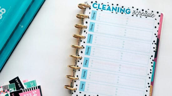 Free Printable Cleaning Schedule in 5 sizes to add to your planner or home binder. Helps you organize your cleaning tasks and keep your home clean and organized. #freeprintable #lovelyplanner #Planner #home #organization