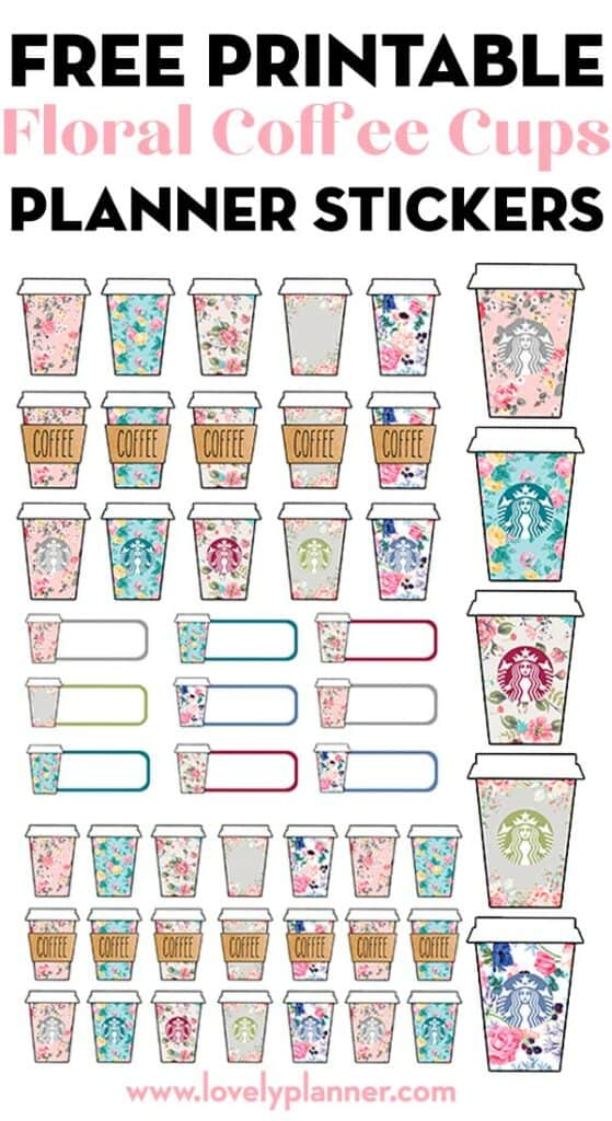 free printable floral starbucks coffee cups planner