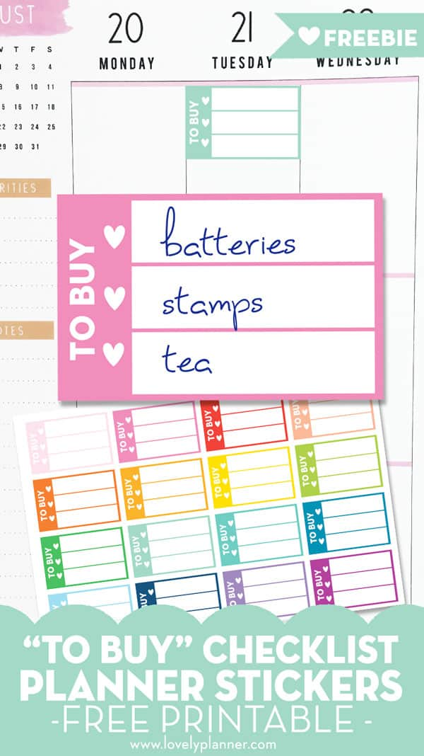 Free Printable Shopping List Planner Stickers