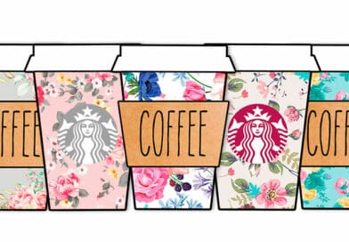 Free Printable Floral Starbucks Coffee Cups Planner Stickers