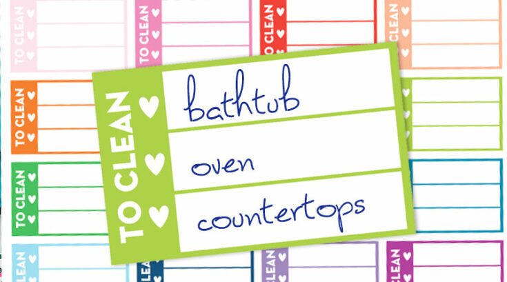 """Free Printable """"To Clean"""" Checklist Stickers - Rainbow"""