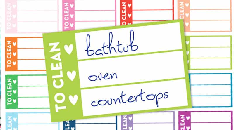 Free Printable Cleaning Checklist Planner Stickers
