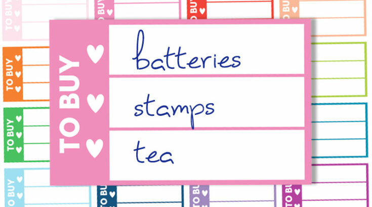 """Free Printable """"To Buy"""" Shopping List Planner Stickers"""
