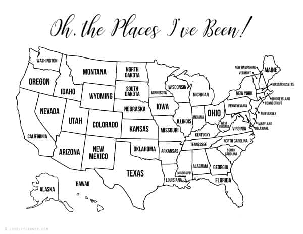 13 Free Printable USA Travel Maps for your Bullet Journal - USA Map Coloring Map on
