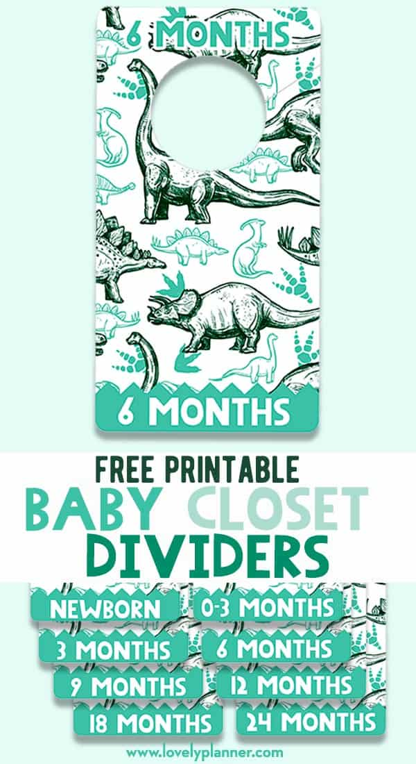 Free Printable Baby Closet Dividers- Dinosaurs