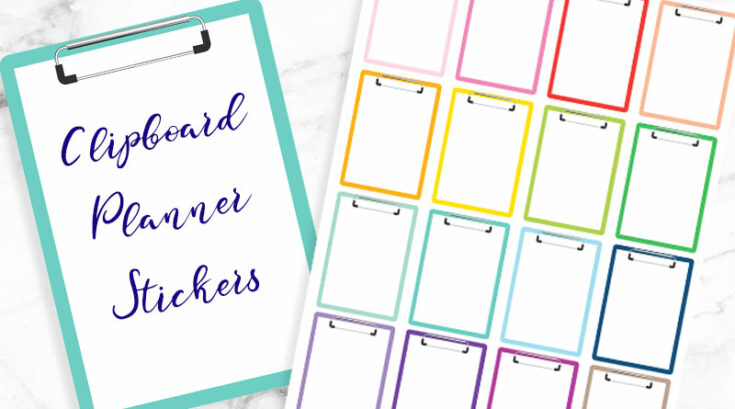Free Printable Clipboard Planner Stickers - Rainbow