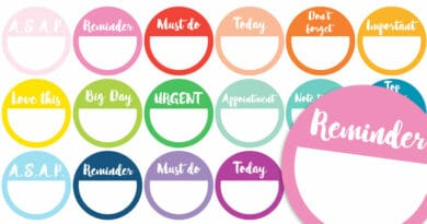 Free Printable Reminder Planner Stickers with 12 different sayings, in 2 versions: Black & White or Rainbow (18 colors) #FreePrintable #plannerstickers #stickers #planner #bujo #lovelyplanner