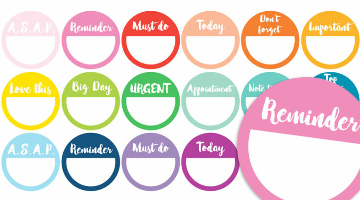 48 Free Printable Reminder Planner Stickers - Rainbow or B&W