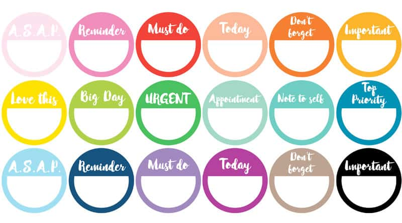 picture relating to Printable Circle Stickers known as 48 No cost Printable Reminder Planner Stickers - Rainbow or BW