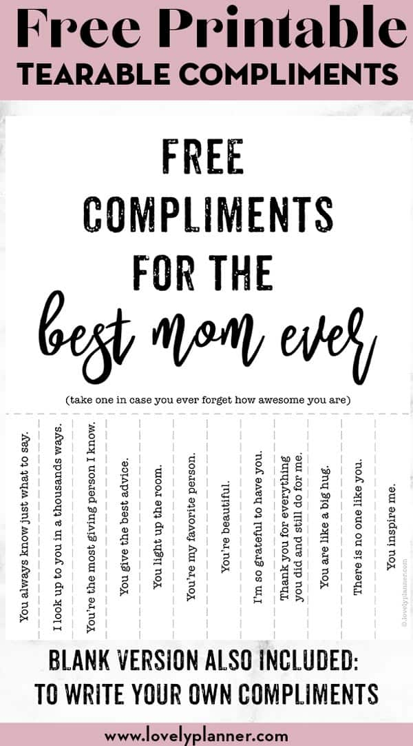 Free Compliments for the best Mom ever sign - Free Printable