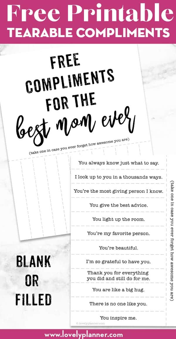 take one compliment for moms - mother's day DIY gift