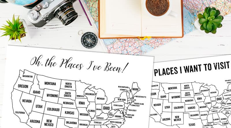 13 Free Printable USA Travel Maps for your Bullet Journal - USA Map Coloring Pages