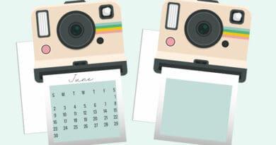 Free printable polaroid calendar divider die cut #freeprintable #planner #bulletjournal #calendardivider #diecut #lovelyplanner