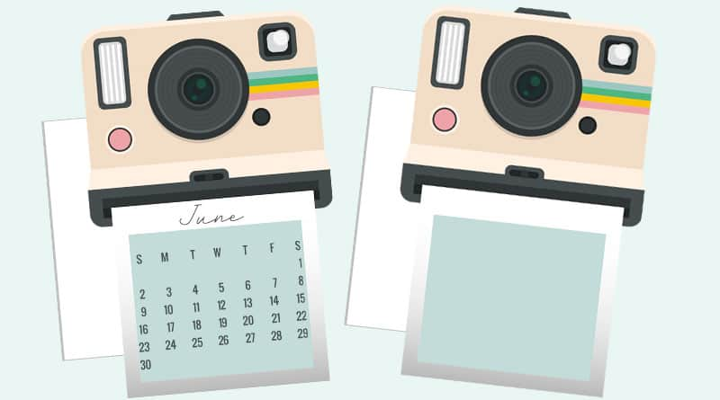 photo relating to Camera Printable named Free of charge Printable Polaroid Digital camera Planner Die Slice / Calendar