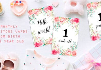 """Free Printable Baby Milestone Cards"""" width=""""600"""" height=""""1200"""" data-pin-description=""""Free Printable Monthly Baby Milestone Cards: use these floral milestone cards to take monthly pictures and document your baby's first year. #freeprintable #babymilestone #milestonecards #baby #DIY #lovelyplanner"""