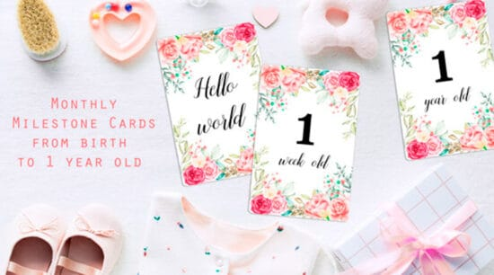 "Free Printable Baby Milestone Cards"" width=""600"" height=""1200"" data-pin-description=""Free Printable Monthly Baby Milestone Cards: use these floral milestone cards to take monthly pictures and document your baby's first year. #freeprintable #babymilestone #milestonecards #baby #DIY #lovelyplanner"