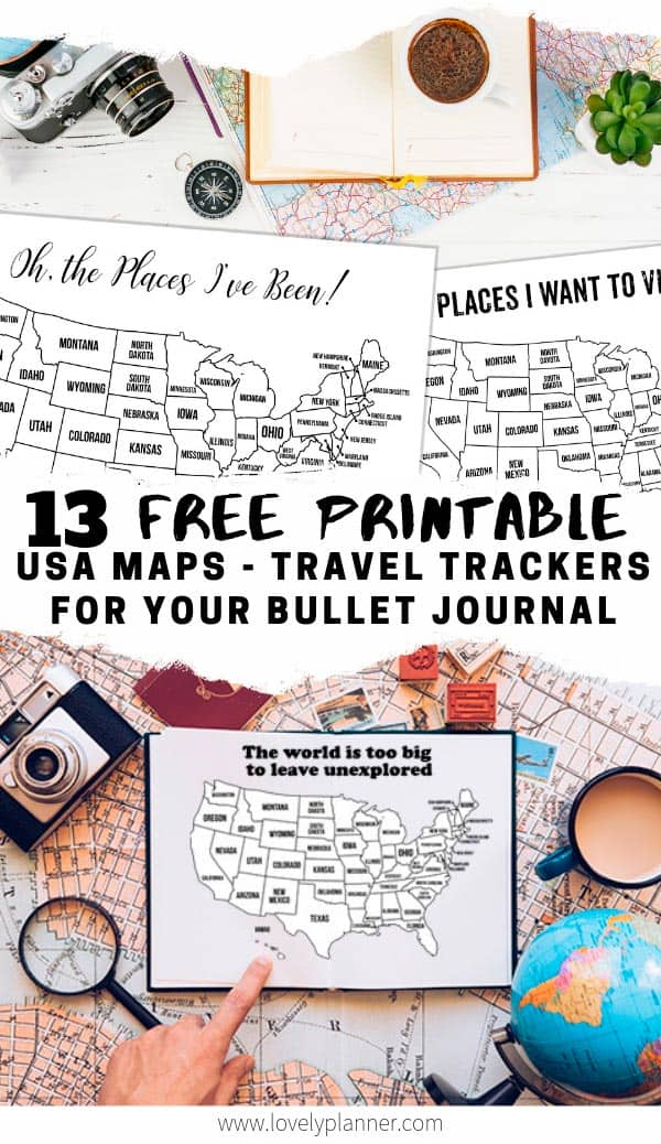 13 Free Printable Bullet Journal USA Travel Maps Coloring Page