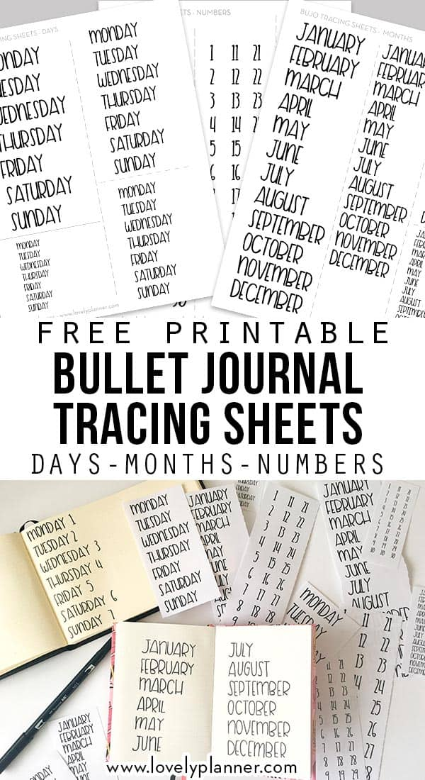 Free Printable Bullet Journal Tracing Sheet with days, months and dates