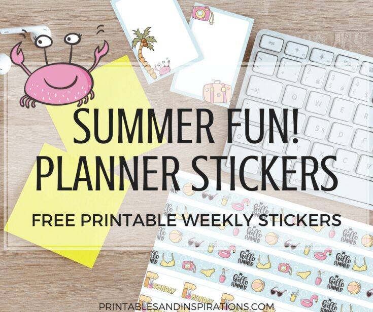 Free Cute Summer Stickers For Planner Or Scrapbooking Fun!