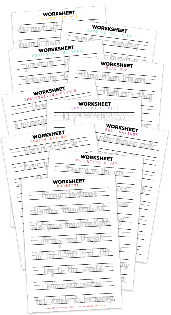 10 FREE Printable Hand Lettering Worksheets for beginners