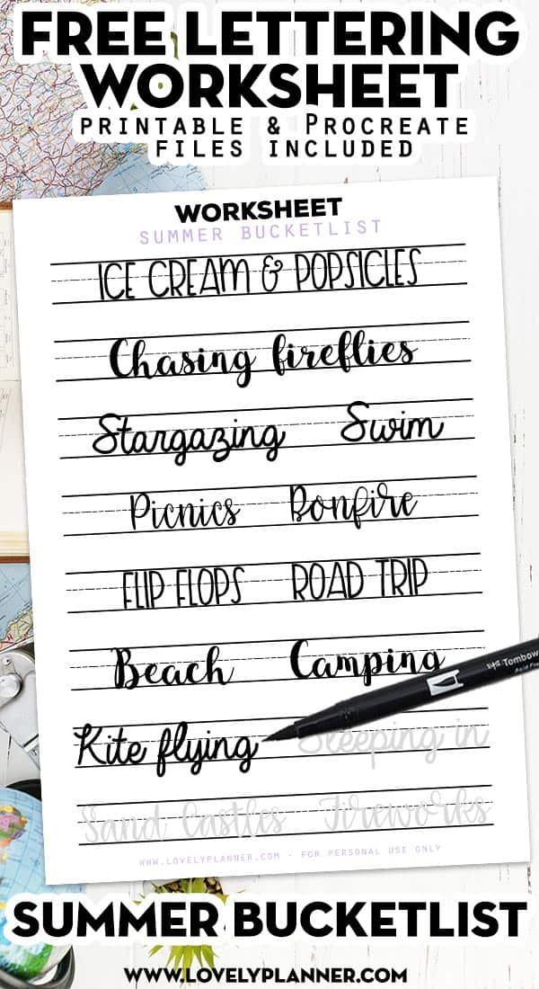 Free Printable Hand Lettering Worksheet with Summer Bucket List ideas
