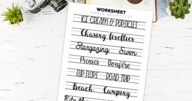 Free Printable Summer Bucket list Lettering Worksheet