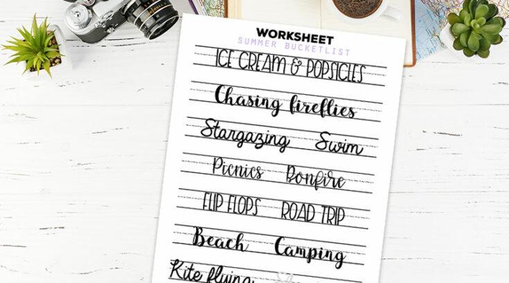 Free Printable Summer Bucket List Lettering Practice Worksheet