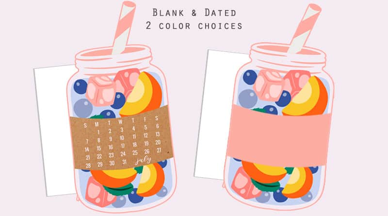 Free Printable Peach Iced Tea Planner Divider / Die-Cut