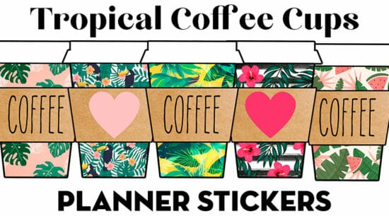 Free Printable Tropical Starbucks Coffee Cups Planner Stickers