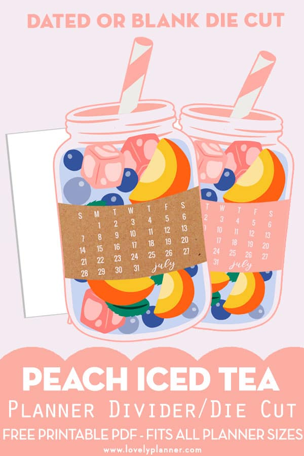 Free Printable Iced Tea Planner Divider