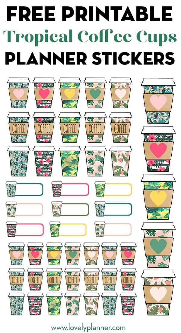 Free Printable Tropical Coffee Cups Planner Stickers