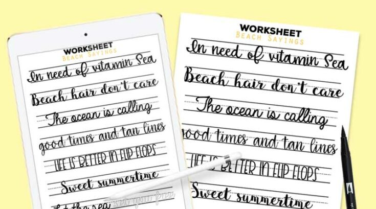 Free Printable Beach Sayings Lettering Worksheet (Printable + Procreate)