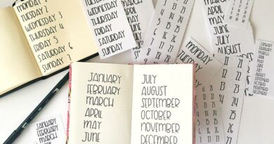 Free Printable Bullet Journal Tracing Sheets: Days, Months, Numbers {SANS SERIF}