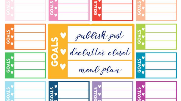 """Free Printable """"Goals"""" Checklist Planner Stickers"""