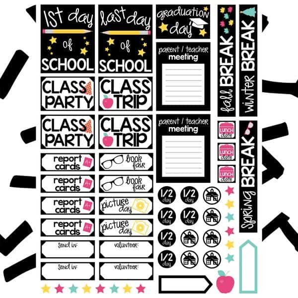Free Back to School Planner Stickers