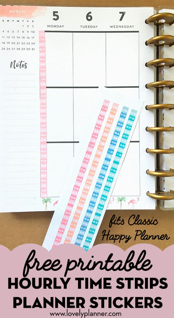 Free Printable Hourly Strips Planner Stickers (for Classic