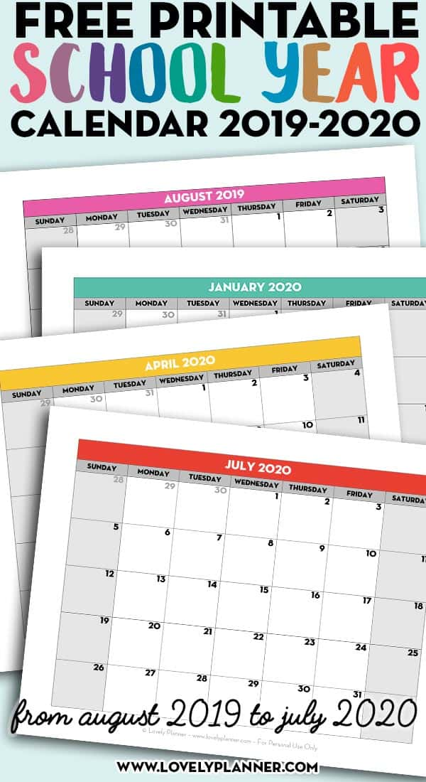 graphic regarding School Calendar -16 Printable named Absolutely free Printable College Yr Calendar - Month-to-month Webpages 2019