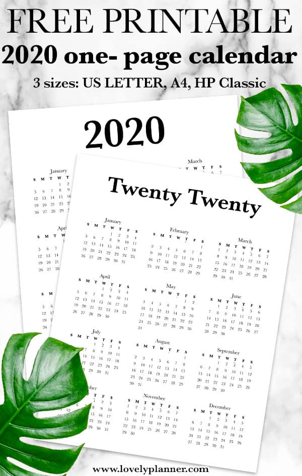 Free 2020 Calendar Printable One Page - Lovely Planner